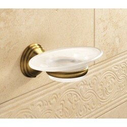 GEDY 7511-44 ROMANCE WALL MOUNTED FROSTED GLASS SOAP DISH WITH BRONZE MOUNTING