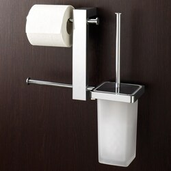 GEDY 7640-13 BRIDGE WALL MOUNT CHROME RACK WITH TISSUE HOLDER AND TOILET BRUSH