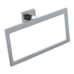 GEDY A070-13 ELBA MODERN RECTANGULAR CHROMED BRASS AND CROMALL TOWEL RING