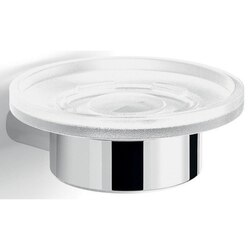 GEDY A111-13 AZZORRE ALUMINUM AND FROSTED GLASS ROUND CHROME SOAP DISH