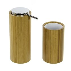 GEDY AL580-35 ALTEA BAMBOO BATHROOM ACCESSORY SET, SOAP DISPENSER AND TOOTHBRUSH TUMBLER