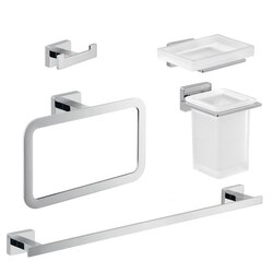 GEDY ATN105 ATENA CHROME BRASS AND FROSTED GLASS BATHROOM ACCESSORY SET