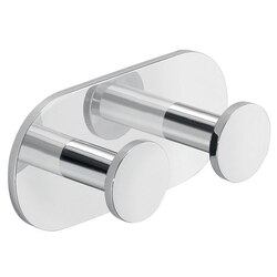GEDY D026-13 USTICA CHROMED ALUMINUM ADHESIVE MOUNTED DOUBLE BATHROOM HOOK