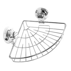 GEDY HO80-13 HOT SUCTION CUP CHROME SINGLE BASKET ROUNDED TRIANGLE SHOWER BASKET