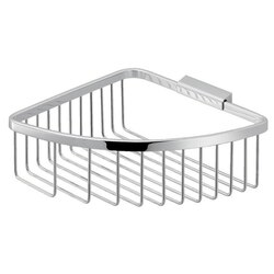 GEDY S080-13 TRINIDAD MODERN CHROMED STAINLESS STEEL WIRE CORNER SHOWER BASKET