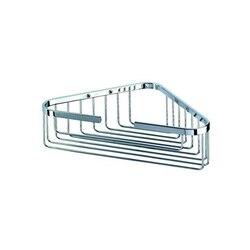 GEESA 170 BASKET COLLECTION CHROME CORNER SHOWER BOTTLE OR SPONGE HOLDER