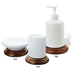 STILHAUS M100 MINERVA MINERVA COUNTER WHITE CERAMIC WITH WOOD BASE BATHROOM ACCESSORY SET