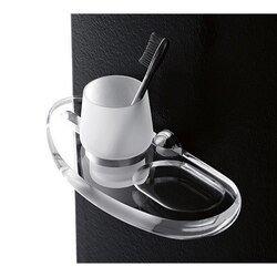 TOSCANALUCE 6015 ORCHIDEA WALL MOUNTED FROSTED GLASS TUMBLER WITH PLEXIGLASS HOLDER AND SOAP DISH