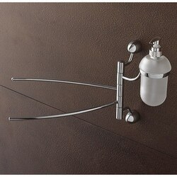 TOSCANALUCE 9028 MARINA 14 INCH CHROME SWIVEL TOWEL BAR WITH FROSTED GLASS SOAP DISPENSER