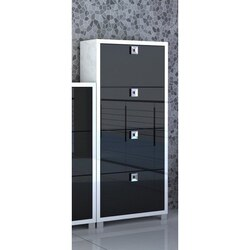 SARMOG 574GW-GB DOUBLE GLOSSY WHITE AND BLACK SHOE RACK WITH 4 FOLDING DOUBLE-DEPTH DOORS