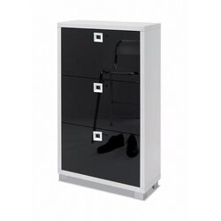 SARMOG 573GW-GB DOUBLE SHOE RACK WITH 3 FOLDING DOUBLE-DEPTH DOORS WITH GLOSSY WHITE BASE AND GLOSSY BLACK DOORS