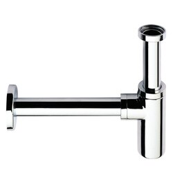 REMER 958L-NP PLUMBING ACCESSORIES P-TRAP WITH ROUND HEAVY FLANGE IN SATIN NICKEL