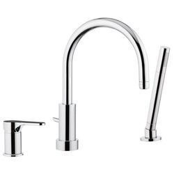 REMER L07US CLASS LINE THREE PIECE DECK MOUNT BATH MIXER WITH HAND SHOWER IN CHROME