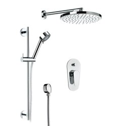REMER L09LS01US CLASS LINE ALL INCLUSIVE SHOWER SET WITH SHOWER HEAD, SLIDING RAIL, AND HAND SHOWER IN CHROME
