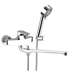 REMER L49US CLASS LINE BASIN AND BATH SINGLE LEVER MIXER WITH HAND SHOWER AND BRACKET IN CHROME