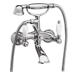 REMER LR02US RETRO BATHTUB MIXER WITH FLEXIBLE HOSE AND HAND SHOWER AND BRACKET IN CHROME