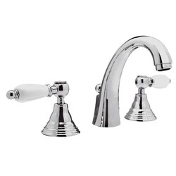 REMER LR11CUS RETRO THREE HOLE WASHBASIN FAUCET WITH CAST SPOUT AND POP-UP WASTE IN CHROME