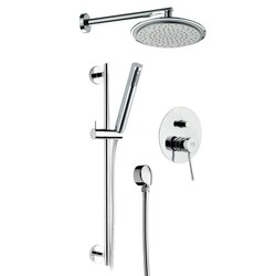 REMER N09S01 MINIMAL CHROME SHOWER SET WITH OVERHEAD SHOWER, HAND SHOWER AND SINGLE LEVER