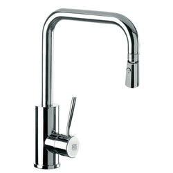 REMER N73US GOURMET SINK MIXER WITH HIGH MOVABLE U-SPOUT, DUAL JET HANDSPRAY, AND ROUND BODY IN CHROME