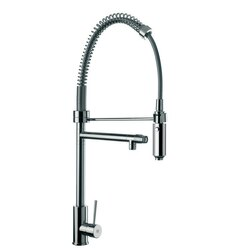 REMER N78US GOURMET SINK MIXER WITH ROUND BODY, DOUBLE WATER OUTLET AND HAND SPRAY IN CHROME