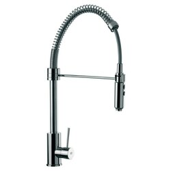 REMER N87US GOURMET ROUND BODY CHROME MIXER WITH SPRING SPOUT, PULL OUT HAND SPRAY AND SIDE LEVER