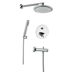 REMER NT09S03US MINIMAL THERMAL BRASS SHOWER SET WITH SHOWER HEAD, HAND SHOWER, DIVERTER, AND MIXER