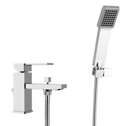 REMER Q03US QUBIKA BATH AND SINK MIXER WITH HAND SHOWER AND SHOWER BRACKET IN CHROME