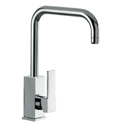 REMER Q72US GOURMET BRASS MIXER WITH SINGLE SIDE LEVER AND HIGH MOVABLE U-SPOUT IN CHROME