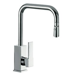 REMER Q73US GOURMET SQUARE BODY HIGH MOVABLE U-SPOUT MIXER WITH REMOVABLE DUAL JET SPRAY IN CHROME