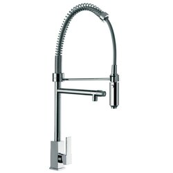 REMER Q78US GOURMET SQUARED BASE SINK MIXER WITH DOUBLE WATER OUTLET AND HAND SPRAY IN CHROME