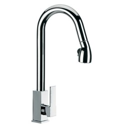 REMER Q86US GOURMET HIGH J-SPOUT MIXER WITH SIDE LEVER AND PULL OUT, 2 FUNCTION HAND SPRAY IN CHROME