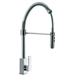 REMER Q87US GOURMET DECK MOUNT SQUARED SINK MIXER WITH SPRING SPOUT AND PULL OUT HAND SPRAY IN CHROME