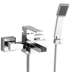 REMER QC02US QUBIKA CASCADE SINGLE LEVER EXTERNAL BATH SHOWER MIXER WITH WATERFALL SPOUT AND HAND SHOWER IN CHROME