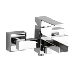 REMER QC05US QUBIKA CASCADE EXTERNAL BATH MIXER WITH WATERFALL SPOUT AND AERATOR IN CHROME