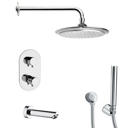REMER TSH4407 TYGA POLISHED CHROME THERMOSTATIC TUB AND SHOWER FAUCET WITH HANDHELD SHOWER