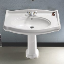 CERASTYLE 030400-PED 1837 39 X 21 INCH CLASSIC-STYLE WHITE CERAMIC PEDESTAL SINK