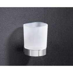 GEDY 5510-13 KENT WALL MOUNTED FROSTED GLASS TOOTHBRUSH HOLDER WITH CHROME BASE