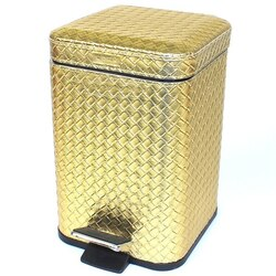 GEDY 6709 MARRAKECH SQUARE FAUX LEATHER WASTE BIN WITH PEDAL