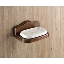 GEDY 8111-95 MONTANA WALL MOUNTED PORCELAIN SOAP HOLDER WITH WOOD BASE