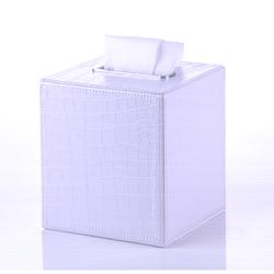 GEDY AL02-02 AILANTO CROCODILE SQUARE TISSUE BOX MADE FROM FAUX LEATHER IN WHITE