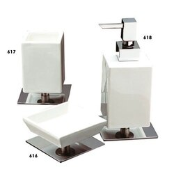 STILHAUS CU100 CUBE CERAMIC WITH BRASS BASE BATHROOM ACCESSORY SET