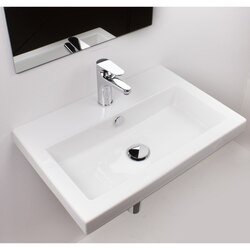 TECLA 4002011 SERIE 40 32 X 16 INCH RECTANGULAR WHITE CERAMIC WALL MOUNTED OR SELF RIMMING SINK