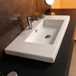 TECLA CAN03011 CANGAS 39 X 18 INCH RECTANGULAR WHITE CERAMIC WALL MOUNTED OR BUILT-IN SINK