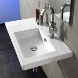 TECLA CO01011 CONDAL 32 X 18 INCH RECTANGULAR WHITE CERAMIC WALL MOUNTED OR BUILT-IN SINK