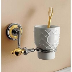 TOSCANALUCE 6502 QUEEN WALL MOUNTED CLASSIC-STYLE ROUND CERAMIC TOOTHBRUSH HOLDER