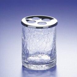 WINDISCH 83125 ADDITION CRACKLED ROUND CRACKLED GLASS TOOTHBRUSH HOLDER