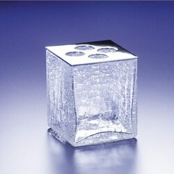 WINDISCH 83128 BOX CRACKLED 4-HOLE CRACKLED CRYSTAL GLASS TOOTHBRUSH HOLDER
