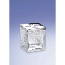 WINDISCH 83148 COMPLEMENTS FREE STANDING CRACKLED GLASS SQUARE TOOTHBRUSH HOLDER