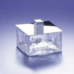 WINDISCH 88127 BOX CRACKLED SQUARE CRACKLED CRYSTAL GLASS BATHROOM JAR
