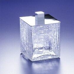 WINDISCH 88128 BOX CRACKLED SQUARE CRACKLED GLASS COTTON SWAB JAR